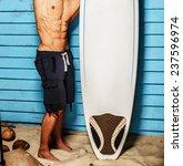 surfer from hawaii posing in...   Shutterstock . vector #237596974