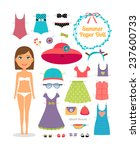 summer paper doll. girl with... | Shutterstock .eps vector #237600733