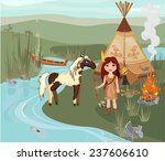 indian girl and spotted horse | Shutterstock . vector #237606610