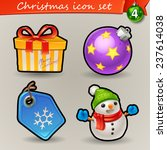 Funny Christmas icons-4 - stock vector