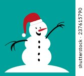 Snowman In Santa Hat   Vector...