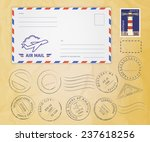 retro postage stamps collection ... | Shutterstock .eps vector #237618256