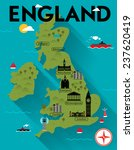 map of england illustration | Shutterstock .eps vector #237620419