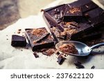 Dark Chocolate Over Wooden...