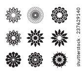set of black geometric flowers | Shutterstock .eps vector #237629140