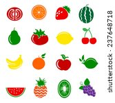 16 fruits icons set. vector... | Shutterstock .eps vector #237648718