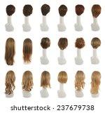 hair wig over the white plastic ...   Shutterstock . vector #237679738