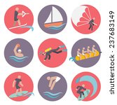 water sports flat icons set... | Shutterstock . vector #237683149