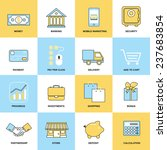 business icons flat line set of ... | Shutterstock . vector #237683854