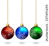 three multicolored christmas... | Shutterstock . vector #237691654