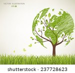 tree shaped like the world map | Shutterstock .eps vector #237728623