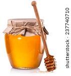 glass jar full of honey and... | Shutterstock . vector #237740710