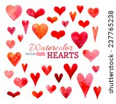 set of vector watercolor hearts.... | Shutterstock .eps vector #237765238