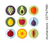 fruits. icon set. flat.... | Shutterstock .eps vector #237767980