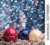three christmas balls on... | Shutterstock . vector #237788884