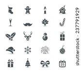 Holiday Icons Set  Christmas...