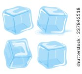 Ice Cubes Vector Set On White...