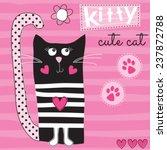 cute black cat kitty vector... | Shutterstock .eps vector #237872788
