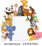 wild animal cartoon with blank... | Shutterstock .eps vector #237937063