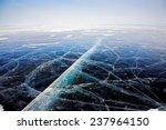 Winter Baikal. Texture Of Ice...