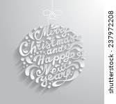 Xmas greeting card with abstract doodle Christmas ball - stock photo