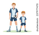 father with ball and son stand... | Shutterstock . vector #237977470