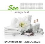 spa setting on table isolated... | Shutterstock . vector #238002628