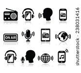radio  podcast app on... | Shutterstock .eps vector #238031416