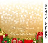 golden bokeh with gift box with ... | Shutterstock .eps vector #238039540