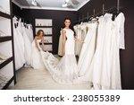 smiling pretty bride chooses... | Shutterstock . vector #238055389