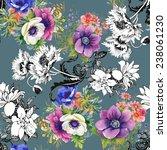 colorful garden flowers... | Shutterstock . vector #238061230