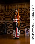 Small photo of Shiraoi, JAPAN, OCTOBER 12, 2014 - Performance in Ainu village listed in UNESCO