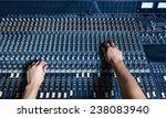 hands of sound engineer working ... | Shutterstock . vector #238083940