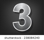 number 3 in brushed steel... | Shutterstock .eps vector #238084240