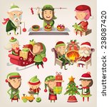 set of santa's elves preparing... | Shutterstock .eps vector #238087420