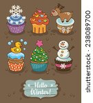 set of winter cupcakes with... | Shutterstock .eps vector #238089700