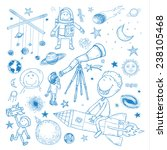 space boy set  hand drawn... | Shutterstock .eps vector #238105468