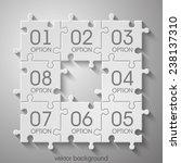eight piece flat puzzle round... | Shutterstock .eps vector #238137310