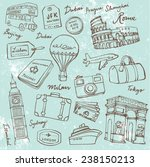 travel theme doodle vector set... | Shutterstock .eps vector #238150213