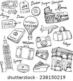 travel theme doodle vector set... | Shutterstock .eps vector #238150219