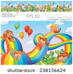 children slide down on a... | Shutterstock .eps vector #238156624