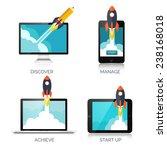 rocket ship in a flat style... | Shutterstock .eps vector #238168018
