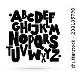 Hand drawn comics style font. Vector alphabet