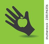 human hand with apple symbol... | Shutterstock .eps vector #238196356