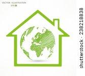 world map  globe inside a green ... | Shutterstock .eps vector #238218838