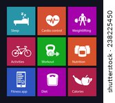 fitness  health icons set on