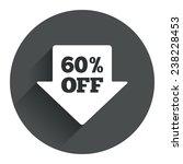 60  sale arrow tag sign icon....
