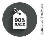 90  sale price tag sign icon....