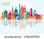 europe skyline detailed... | Shutterstock .eps vector #238249900