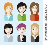 set of beautiful young women... | Shutterstock .eps vector #238253710